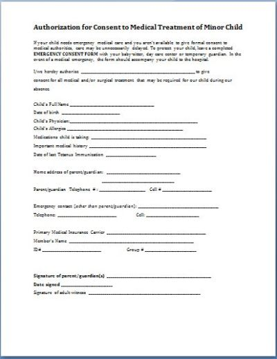 Sample Child Consent Forms Templates | Printable Medical ...