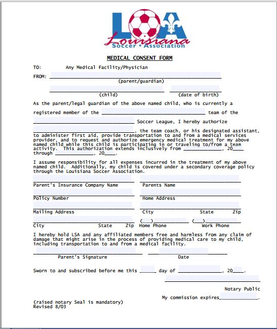 Sample Medical Consent Form   Printable Medical Forms, Letters & Sheets