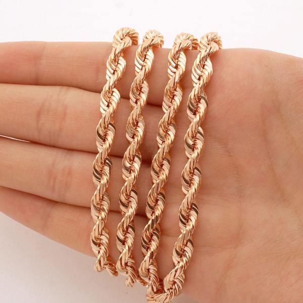 Solid 14k Rose Gold Diamond Cut Rope Chain Necklace 2mm-7mm 20 -30 Men