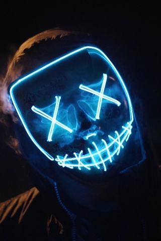 Iphone X Cool Wallpaper Features Blue Led Mask Download Mobile Wallpaper