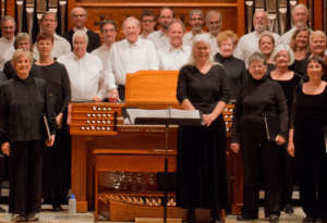 Anne Pell (to right of organ) and some members of Amabile Choir