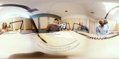 Fish-eye 360-view of podcast in progress (L to R):