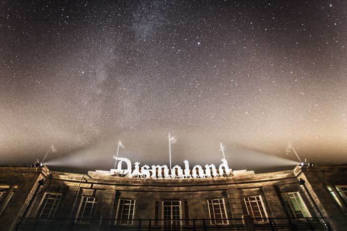 Dismaland at night