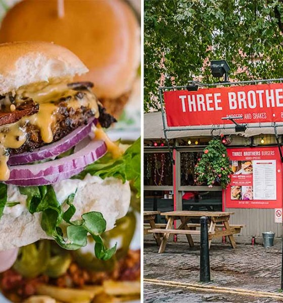 Vegan burger and facade of Three Brothers Burgers