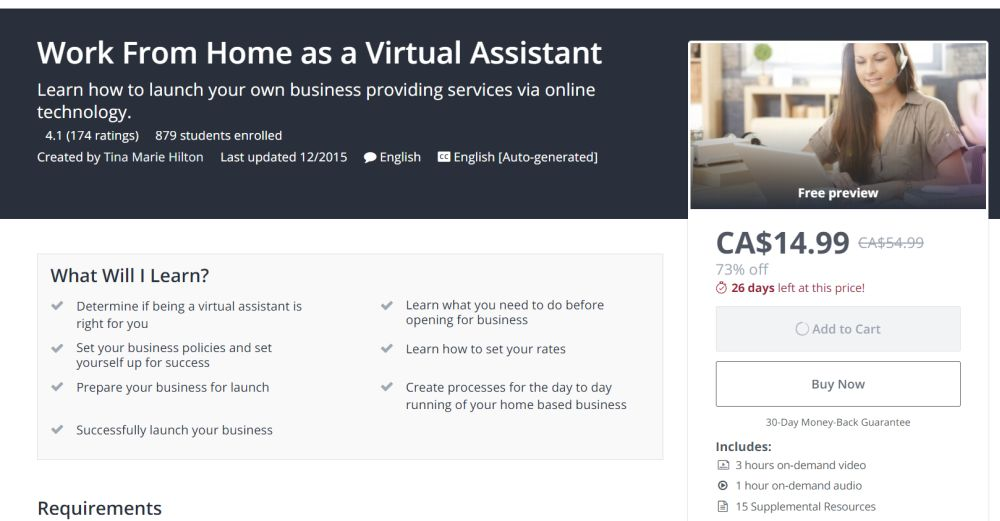 Work at Home Virtual Assistant Video Training Course