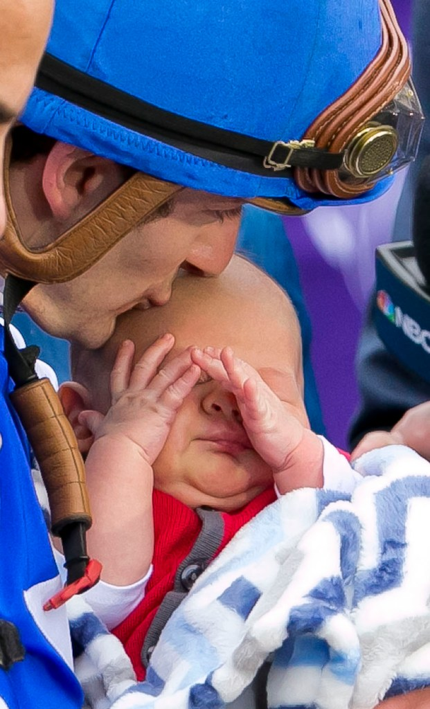 Tepin, ridden by Jockey Julien Leparoux, won the Breeders' Cup Mile Saturday afternoon October 31, 2015, at the Keeneland Race Track in Lexington, KY during the second day of the 2015 Breeders' Cup. Leparoux kisses his new baby after winning. Tepin stayed 30 days in 2014 at Trainer Mark Casse's Moonshadow Farm in Marion County. (Doug Engle/Ocala Star-Banner)2015.