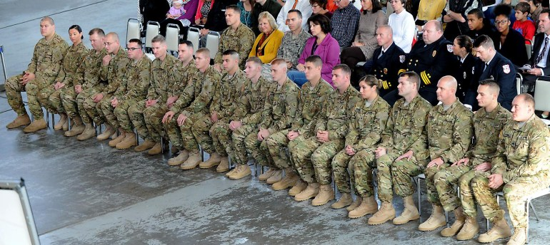 The Call to Duty Ceremony for Company B 3-238th AViation Regiment (GSAB) at the MAPS Air Muesum.