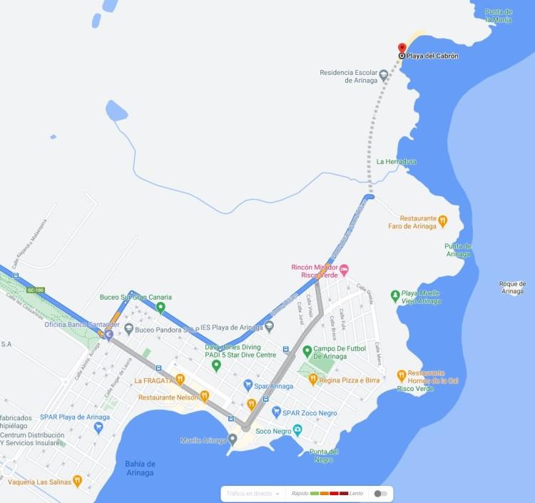 mapa playa el cabron