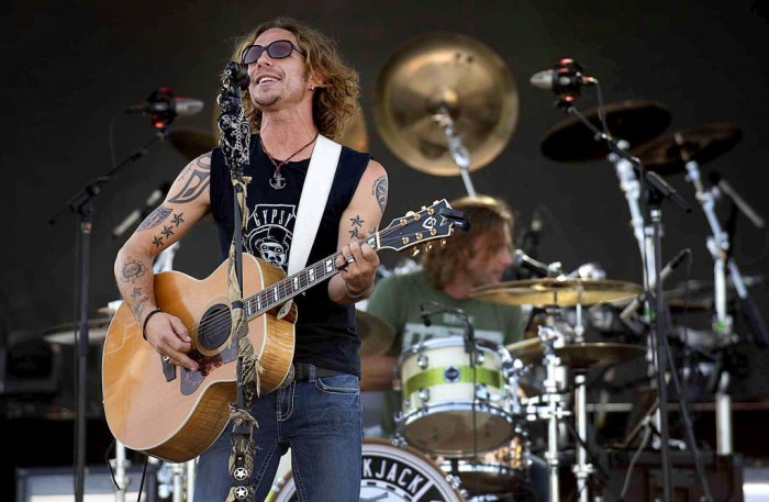 Noll Billings, lead singer for the Nashville-based band Blackjack Billy, and drummer Brad Cummings entertain during the Bands in the Backyard on June 20, 2015 in Pueblo, Colo. The country-rock group was one of several bands that performed during the two-day event on the St. Charles Mesa, (Chris McLean, The Pueblo Chieftain)