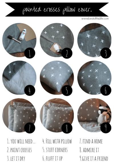 DIY painted crosses pillow cover