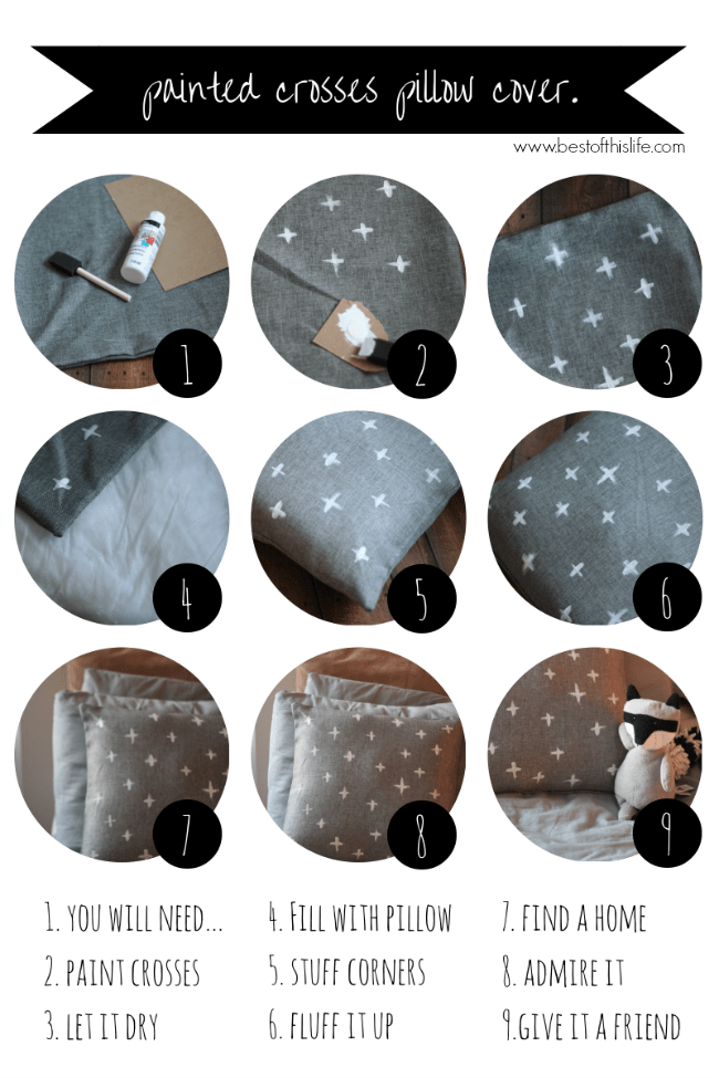 The Best of this Life | DIY painted crosses pillow cover.png