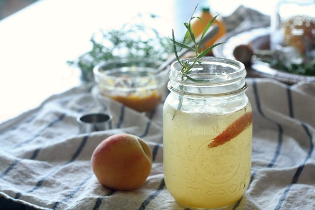 Roasted Peach and Rosemary Fizz