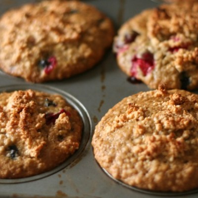 Blueberry Cranberry Oat Muffins with Maple Cashew Crunch Topping