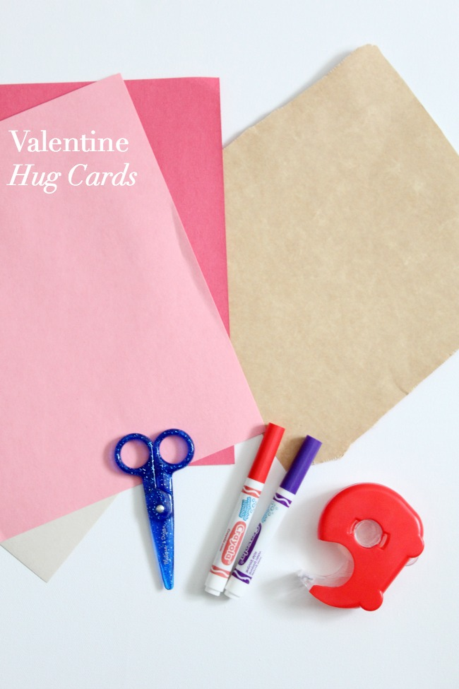 Valentine Hug Cards made with construction paper