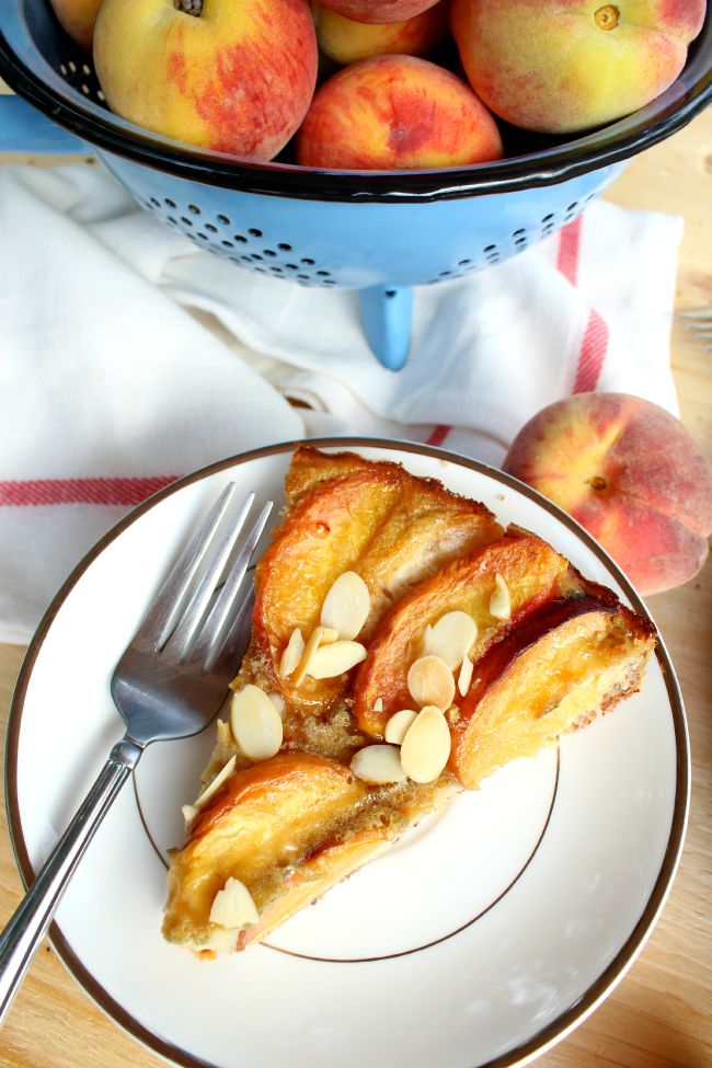 Peach Clafoutis (gluten-free) made with almonds