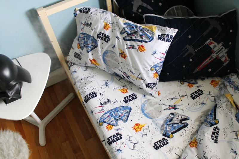 Star Wars Boys Room Makeover featuring star wars sheets from Pottery Barn Kids