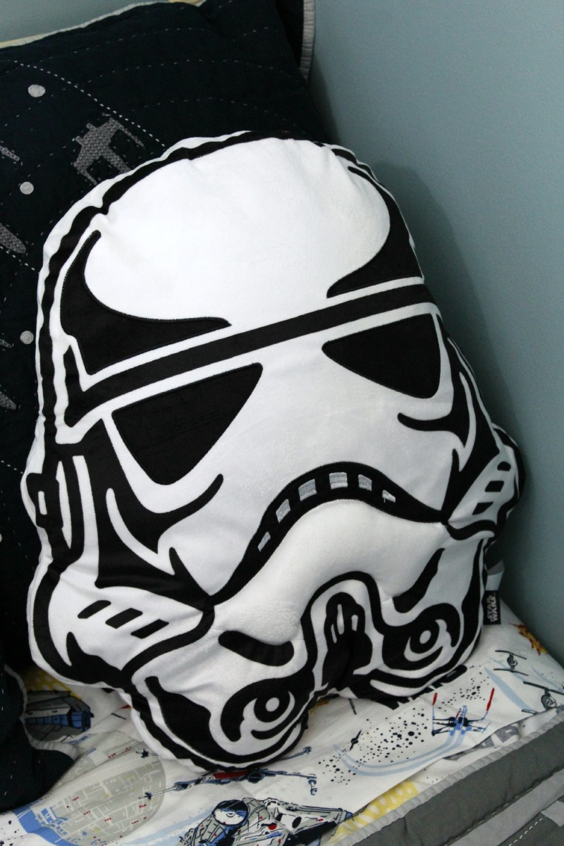 Star Wars Boys Room Makeover featuring storm trooper pillow from Giant Tiger