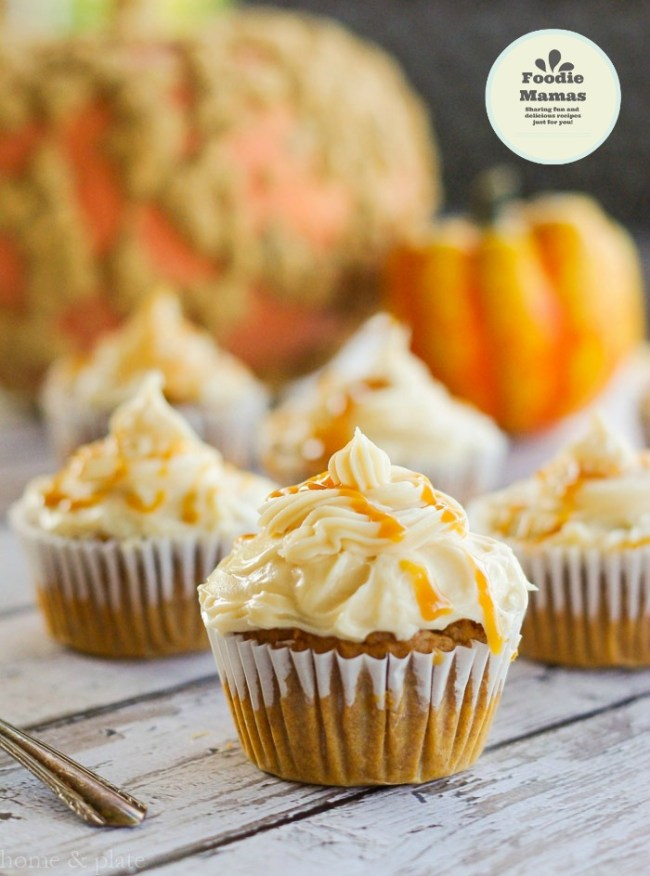 harvest-pumpkin cupcakes-salted-caramel-frosting (1a)