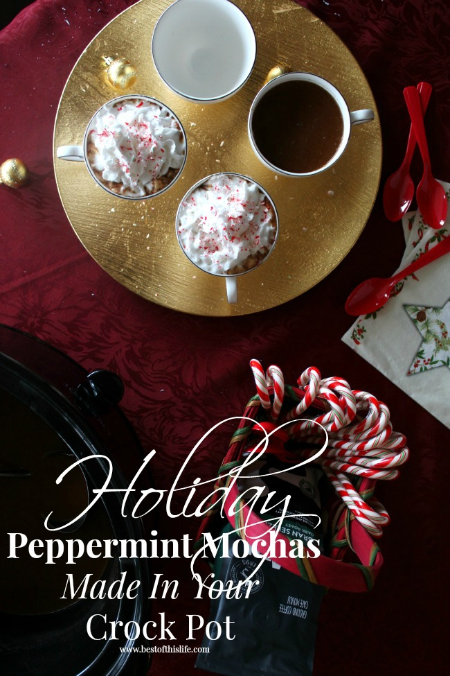 Holiday Crock Pot Peppermint Mochas Dairy-Free (made with coconut milk and coconut whipped cream)