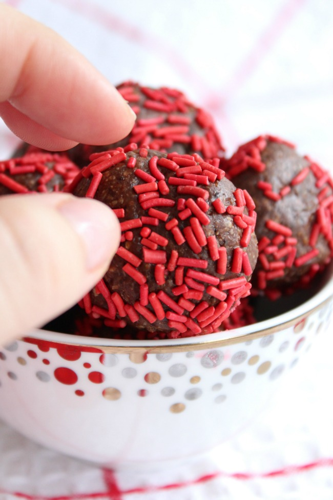 Red Sprinkles Chocolate Truffle Snack Bites bestofthislife.com