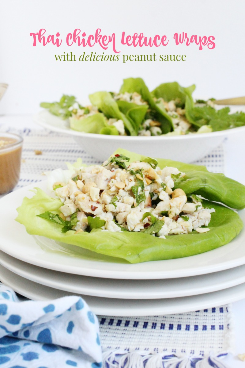 Thai Chicken Lettuce Wraps with delicious Peanut Sauce