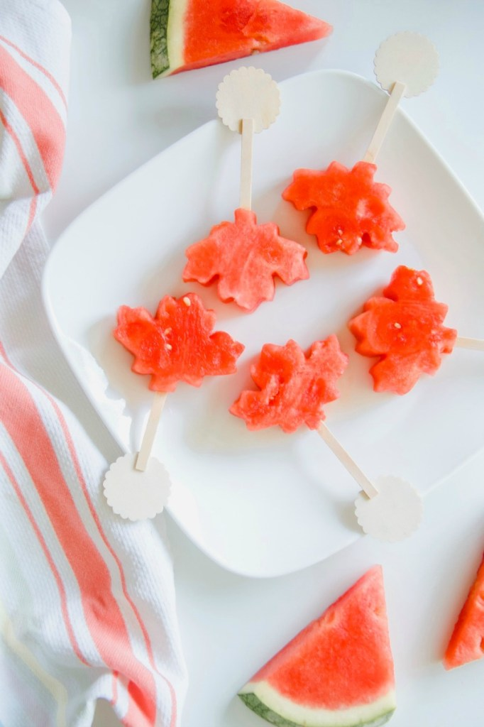 Canada Day Watermelon Pops in Maple Leaf Shape