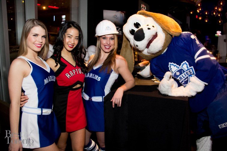 Marlies girls and Ashley, Raptors Dance Pak captain and the Marlies Mascot, Duke the Dog