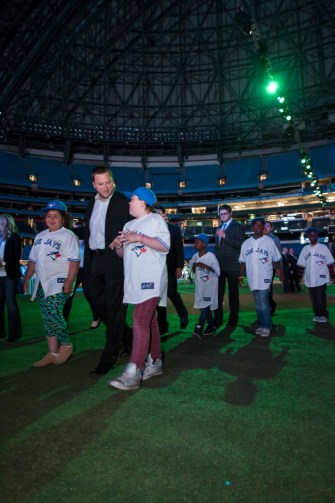 The Blue Jays escorting the Toronto Community Housing Rookie Leaguers Photo: Michelle Prata