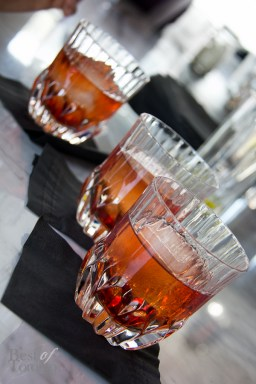 Boulevardier: straight rye bourbon whiskey, campari, aperol sweet vermouth, bitters, orange chips and oils