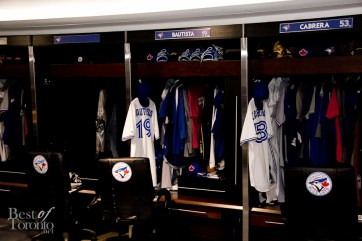 Jose Bautista's locker in the Blue Jays locker room