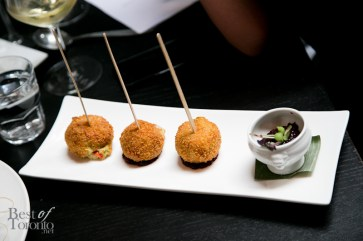 Lobster croquette lollipops