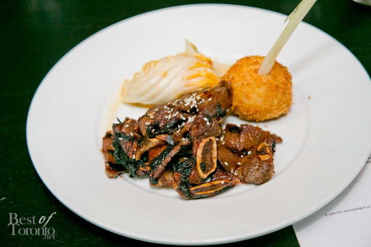 Miami style Korean ribs with house made kimchi and foraged mushroom arancini