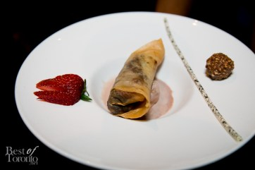 Chocolate banana spring rolls with ferrero rocher gelato