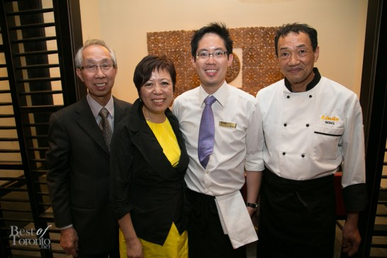 Ernest & Linda Liu (owner of Linda Thai), son Alan Liu (general manager and co-owner of Salad King and Linda Thai), Chef Wing Li