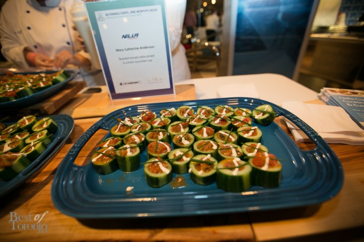 Roasted tomato salsa served in a fresh cucumber cup - Mary Catharine Anderson, Nella Cucina
