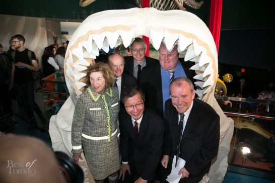 Michael Chan, Rob Ford and more inside the replica Megalodon jaws at the grand opening on October 16, 2013