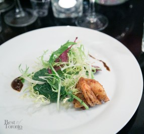 Appetizer: Shrimp & Valrhona Manjari with pure Madagascar chocolate mole sauce, frisee salad