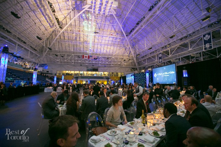 The Toronto Maple Leafs host a dinner on the floor of a hockey rink at the Mattamy Athletic Centre (formerly Maple Leaf Gardens)
