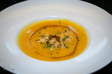 Butternut squash puree with hazelnut brown butter