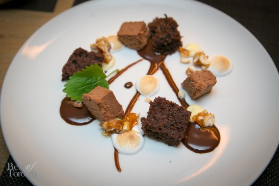 Rock Road: chocolate genoise, toasted marshmallow, frozen chocolate hazelnut crunch mousse