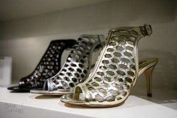 Metallic, open toe heels