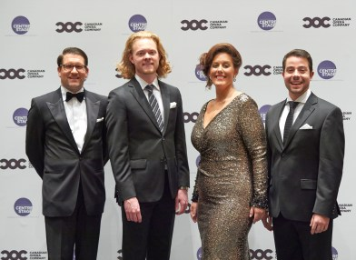 (l-r) COC General Director Alexander Neef, Third Prize Winner bass-baritone Iain MacNeil, First Prize and Audience Choice Award winner soprano Karine Boucher and Second Prize winner tenor Jean-Philippe Fortier-Lazure   Photo: Michael Cooper