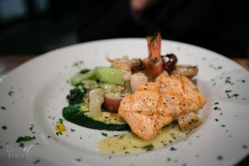 """Seafood Alla Destingo"" with grilled jumbo tiger shrimp,squid,wild salmon and scallops in a lemon white wine sauce"
