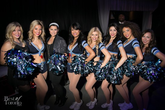Nelly Furtado with Jessica Tyler on the left (Degrassi) and the Argos Cheerleaders
