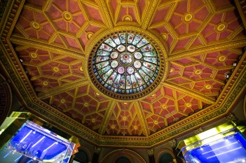 The ceiling of the Hockey Hall of Fame