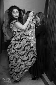 Veronica Chail getting ready backstage with her Pat McDonagh dress