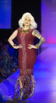 Jessica Phillips (Host of CBC's Four Rooms) wearing Dylanium Knits with jewelery by Rita Tesolin