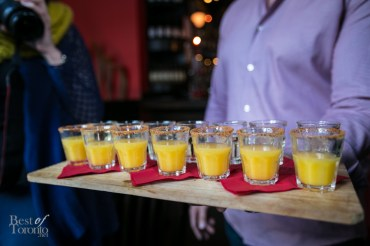 "In the back row we have shots of Milagrito ""Ven a Mi"" Mezcal Reposado - it's a light, sweet, smoky mezcal with a light body and creaminess with an orange juice chaser. This really wakes up your tastebuds."