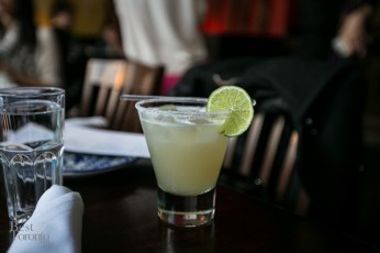 Margarita garnished with a lime wheel