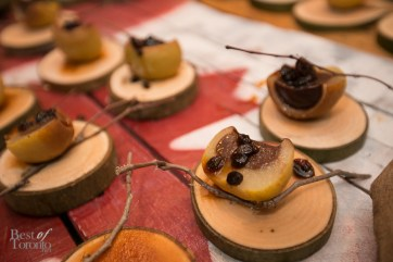 """""""Poached Pear"""" with mulled port, chocolate, blood creme brulee, cranberry currant compote by Jason D'Anna, Magna Golf Club"""